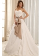 Best A-line Sweetheart Wedding Dress With Sash and Ruched Bodice Taffeta For Wedding Party