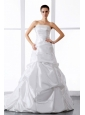 Elegant Wedding Dress With Beading and Ruching Court Train For Custom Made