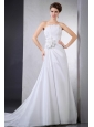 Elegant Wedding Dress With Hand Made Flower Ruching Chapel Train For Custom Made