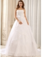 Romantic Princess Sash and Appliques 2013 Wedding Gowns With Ruffled Layers Organza For Wedding Party