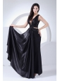 Sexy Prom Dress For 2013 V-neck Black Elastic Woven Satin Ankle-length