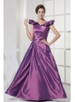 V-neck A-line Purple Taffeta 2013 Prom Dress Floor-length