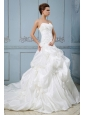 New Arrival 2013 Wedding Dress With Sweetheart Pick-ups Ball Gown Appliques and Hand Made Flower