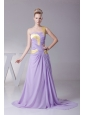 One Shoulder For Lilac Prom Dress With Chiffon and Brush Train