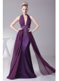Sexy Purple Prom Dress With Halter Ruch and Appliques