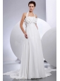 Simple Empire Halter 2013 Wedding Dress With Hand Made Flowers and Appliques
