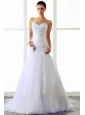 2013 A-line Wedding Dress With Beading and Ruching Sweetheart Brush Train Tulle