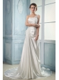 2013 Wedding Dress With One Shoulder Appliques and Beading Ruching Court Train
