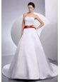 Belt Strapless Wedding Dress Court Train A-Line / Princess Satin