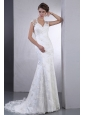 Luxurious 2013 Wedding Dress With Sweetheart Lace Brush Train Column Clasp Handle