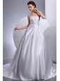 Strapless Ball Gown Hand Made Flowers Chapel Train Wedding Dress