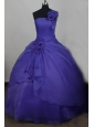 Hand Made Flower One Shoulder Neck Organza Sweet 16 Ball Gown Floor-length Purple Quinceanera Dress