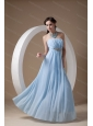 2013 Long Light Blue Empire Strapless Ruch Dama  Dress On Sale