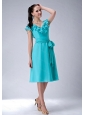 Aqua Blue V-neck Tea-length Sash 2013 Dama Dress