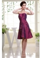 Burgundy Dama Dress Ruch Knee-length