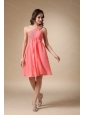 Cheap Watermelon Red Chiffon Beading Dama Dresses for Quinceanera