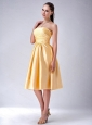 Gold Strapless Satin Bow Dama Dresses for Quinceanera