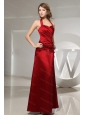 Halter Wine Red Ruched Cheap Dama Dress