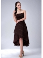 High-low Chiffon Ruch Brown Dama Dress 2013 On Sale