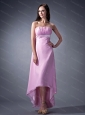High-low Strapless Ruch Lavender Dama Dress