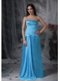 Long Aqua Blue Column Sweetheart Chiffon and Taffeta Dama Dresses On Sale