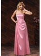 Long Rose Pink Elastic Woven Satin Strapless Dama Dresses