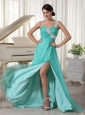 Long Turquoise One Shoulder Appliques Dama Dress On Sale