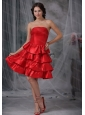 Red A-line Strapless Ruffled Layers Taffeta Dama Dresses On Sale