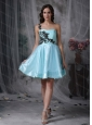 Short Aqua Blue A-line One Shoulder Appliques Dama Dresses