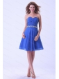 Short Dama Dress With Appliques Ruch Blue