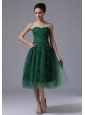 Short Dark Green Sweetheart A-line Tulle 2013 Dama Dresses