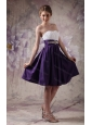 Short White and Purple A-line Sweetheart Beading and Ruch Dama Dresses for Quinceanera