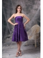 Simple Taffeta Strapless Purple Dama Dress For Summer