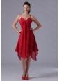 Spagetti Straps Empire Asymmetrical Chiffon Dama Dresses