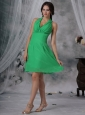 Spring Green Column Halter Chiffon Dama Dresses On Sale