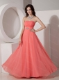Watermelon Empire Strapless Chiffon Beading Sama Dress 2013
