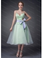 A-line Straps Bowknot Dama Dresses for Quinceanera