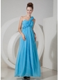 Aqua Blue One Shoulder Chiffon Long Dama Dress