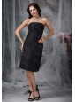 Black Strapless Satin Ruch Short Dama Dresses On Sale