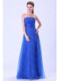 Blue Organza Empire Ruching Dama Dresses On Sale