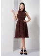 Brown High Neck Chiffon Knee-length Dama Dress On Sale