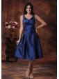 Cheap Royal Blue Short Dama Dresses for Quinceanera With V-neck