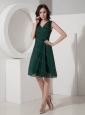 Green A-Line / Princess V-neck Ruched Short Dama Dresses for Quinceanera