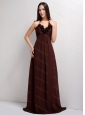 Halter Brown Hand Made Flowers Dama Dress 2013