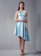Halter High-low Blue Bow Dama Dress On Sale