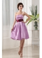 Lavender Sashes Knee-length Short Dama Dress