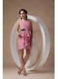 Light Pink Column V-neck Chiffon Ruch Dama Dresses On Sale
