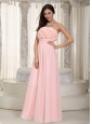 Long Baby Pink Empire Chiffon Hand Made Flowers Dama Dress