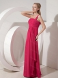 Long Coral Red Column One Shoulder Ruch Dama Dress For 2013