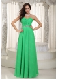 Long Green Empire Sweetheart Ruch and Beading Dama Dress